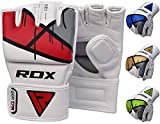 RDX MMA Handschuhe Profi Kampfsport Boxsack Sparring Training Grappling Gloves Freefight Sandsack Maya Hide Leder Punchinghandschuhe (MEHRWEG)
