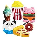 BEYUMI 6Pcs Langsam steigender Squeeze Squishy Toys Set-Hamburger, Popcorn, Pizza, Eiscreme, Donuts X2 Creamy Duft Kawaii Soft Food Squishy Toys, großes Geschenk für Kinder und Erwachsene