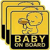 3 Stücke Baby an Bord Auto Aufkleber Reflektierende Magnetische Auto Aufkleber Sicherheit Vorsicht Zeichen für Neue Eltern und Baby