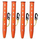 GEERTOP 31cm Aluminium Zeltheringen Heringe mit reflektierend Seil und Verstellvorrichtung Tasche für Sand Schnee Camping Wandern (Orange, 31cm)