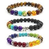 Achat Perlen 7 Chakras Energie Stein Armband Yoga Healing Balance Stein Armkette Elastisches Steinarmreif (Colour9)