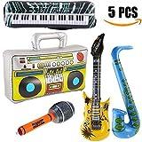 Yojoloin 5 STÜCKE Inflatables Gitarre Saxophon Mikrofon Boom Box Musikinstrumente Zubehör Für Party Supplies Party Favors Ballons Zufällige Farbe (5 STÜCKE)