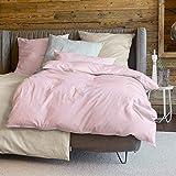 Zeitgeist Bettwäsche 135x200cm, flauschig warme Biberbettwäsche, 100% Baumwolle, rosa, Set aus Bettbezug 135x200 und Kissen 80x80cm, Reißverschluss