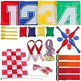 Goldge Kindergeburtstag Spiele -32 teilig FUN Party für Kinder,4 Sackhüpfen Säcke, 4 Klettbänder für Partnerlauf, 4 Eierlaufen, 4 Bohnensäckchen, 2 Plastik Pfeifen, 2 Zielflagge