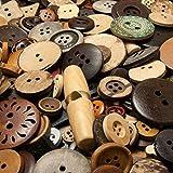 250 Gramm gemischte Holzknöpfe und Kokosknöpfe in vielen verschiedenen Formen (ca. 400 - 600 Knöpfe) - Durchmesser ca. 10 bis 35 mm