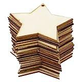 Phenovo Hölzerne Leere Sterne Verschönerungen für DIY 8x8cm 25 Stück