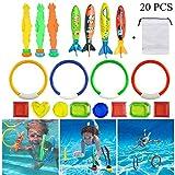 Movein 19 Stück Tauchen Spielzeug Unterwasser Schwimmbad Spielzeug, Schwimmspielzeug Tauchringe Tauchspiel Einschließlich 3Stk Tauchen Gras/4Stk Tauchringe/4Stk Torpedos Banditen/8Stk Tauch Edelsteine