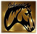 Schlummerlicht24 Led 3d Holz Design Motiv Elektronik Lampe Pferde-Kopf Deko-ration Horse Pferd Geschenk-e mit Name-n für Frauen Mädchen Kind-er Junge-n Frau Zimmer-Einrichtung Kinder-Geburtstag