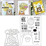 ECMQS 1 Satz Süßer Bär DIY Stanzschablonen Und Stempel Scrapbooking Stanzmaschine Schablonen Stanzformen Für Sizzix Big Shot Cuttle Bug Und Andere Embossing Machine