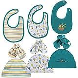 Baby Mütze Lätzchen Handschuhe 100% Baumwolle 3 Babylätzchen 3 Säugling Mützen 3 Paare Fäustlinge Geschenk für Neugeborene Unisex