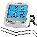 Grillthermometer TOPELEK Bratenthermometer Fleischthermometer 2 Sonden Haushaltsthermometer Temperatur Voreinstellung, Countdown Timer, Instant Read-Out, Magnetische Montagedesign für Küche, Grill.