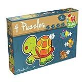 Jumbo 17493 - Playlab - 4 in 1 Konturen-Puzzle - Haustiere, 2/3/4/5 Teile
