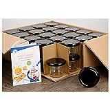 40er Set Sturzgläser 230 ml mit schwarzem Deckel To 82 inkl. Diamant Gelierzauber Rezeptheft Marmeladengläser Einmachgläser Einweckgläser