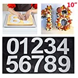 Maygone Große Zahlenkuchenform 0-9 Zahlen Set Backen Kuchen Formen Werkzeug für geschichtete Zuckerguss Creme Obst Kuchen Hochzeit Geburtstag Party Dekoration 25,4 cm (25 cm)