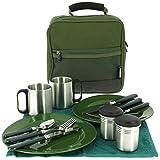 13-teiliges Deluxe G8DS Campinggeschirr, Tassen und Besteck für 2 Personen Kochgeschirr Camping-Besteck-Geschirr-SET Survival Outdoor
