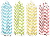 PEARL Strohhalm: Gestreifte 100 Retro Papier-Trinkhalme in 4 Farben, lebensmittelecht (Papierstrohhalme)