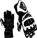JET Motorradhandschuhe Premium-Leder Belüftete Hartschalen auf Knöcheln und Fingern (Schwarz-Weiss, M)