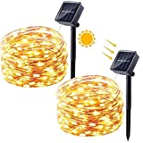 Solar Lichterkette Außen, Qedertek 10M 100 LED Außenbeleuchtung Kupferdraht, Lichterketten für Weihnachten, Partys, Garten, Hochzeiten Dekoration Warmweiß (2 Packungen)