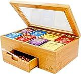 Bambus Tea Box, Teekiste,Nice Tea Bag Aufbewahrungstruhe mit Expandable Schublade, 8 Fächer, Klar Klappdeckel, natürliche Farbe