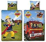 Character World Wende Bettwäsche Feuerwehrmann Sam, 135 x 200 cm 80 x 80 cm, 100% Baumwolle, Linon 2 Motive auf Einer Bettwäsche (100% Baumwolle Linon)