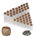 50 Set DIY Mini Glasfläschchen Glasflaschen mit Korken (25 Klein, 25 Groß), 30 Meter Garn und Ösenschrauben - Kleines Fläschchen Flaschen Set für Kunst, Girlanden, Hochzeitseinladungen