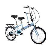 OUKANING 20' Zoll Bike Klapp Fahrrad Faltrad Klapprad 2 Sitze Park Lane Bike (blau)