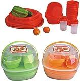 Farbe rosa Picknick Set Geschirrset Camping Geschirr Picknickset Korb für 4 Personen 36 Teile