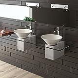 Keramik Waschbecken / Designer Waschtisch / Möbel aus Glas / Alpenberger / Serie 200 / Keramik - Klarglas Waschplatz /Doppelwaschbecken / Handwaschbecken