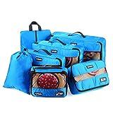 Tyhbelle Kleidertasche Packing Cubes Packwürfel 7-Teiliges Set Ultra-Leichte Gepäckverstauer Ideal für Reise, Seesäcke, Handgepäck und Rucksäcke (7-Teiliges Set, Blau)