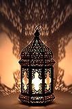 Orientalische Laterne aus Metall & Glas Wifaq Klar 40cm | orientalisches Windlicht schwarz mit Glas | Marokkanische Glaslaterne für draußen als Gartenlaterne, oder Innen als Tischlaterne