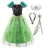 KABETY Mädchen Prinzessin Anna Kleid Schnee königin ELSA Kostüm Party Kleid,5 Jahre (Hersteller Größe:120) ,Grün mit Zubehör