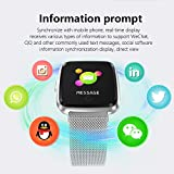 XWEM Intelligentes Sport-Armband, Herzfrequenz-Blutdruck-Schlaf-Entdeckungs-Anruf-Anzeigen-Mitteilungs-Erschütterungs-1.3 Farbsieb-Armband, Kompatibel Mit Android-IOS System,Silver