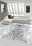Merinos Zebrateppich Kunstfell Zebrafell Fellimitat Teppich Zebra Optik in Schwarz Größe 100x150 cm