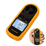 Digital Anemometer LCD Windgeschwindigkeitsmesser Handy Luftstrom Geschwindigkeitsmessung Thermometer Gerät für Surfen / Kite / Fliegen / Segeln / Surfen / Angeln (Batterie enthalten)