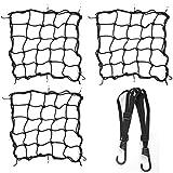 OFNMY Motorrad Gepäcknetz Fahrrad Netz Helmnetz mit Haken Spannnetz Sicherungsnetz elastisches Gepäckband für Motorrad Fahrrad (3 Stück Gepäcknetz, 1 Stück Gepäckband)