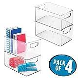 mDesign 4er-Set Sortierbox für den Schreibtisch – Schreibtisch Organizer Set aus Kunststoff – tragbares Schreibtisch Ordnungssystem für Notizbücher, Blöcke, Stifte etc. – durchsichtig