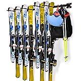 Ski-Wandhalterung, Sunix Skihalter Skiaufbewahrung mit 6 abnehmbaren Haken, bis zu 5 Paar Skier aufnehmen, 2 Stück