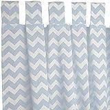 Sugarapple Dekoschal, Gardine, Vorhang (über 35 Farben wählbar) mit Schlaufen aus Baumwolle für Kinderzimmer und Babyzimmer. 2 Schals, Breite 143 cm, Länge 175 cm, Zic-Zack hellblau