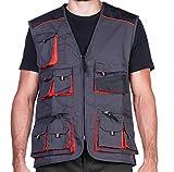 Arbeitsweste mit zehn großen Taschen, Montageweste, herren, 280g. Perfekt geeignet für Techniker und Bauarbeiter,Grau und Orange.