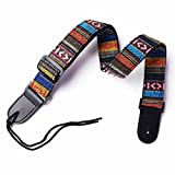 UBETA Hootenanny Style 100%Cotton & Genuine Leather Guitar Guitar Straps Ukulele Straps C1 …