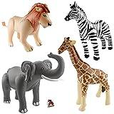 Aufblasbarer Elefant, Löwe, Giraffe und Zebra Safari-Dschungel-Motto-Party-Deko Aufblastiere mit Palandi Sticker