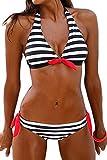 Cocrao Damen Bikini Set mit Streifen und Bügel Push Up Badeanzug Schwarz Elegant Tankini (S,Schwarze Streifen)