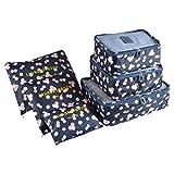 Packing Cubes Koffer Organizer, Coolzon Packtaschen Packwürfel Kleidertaschen, Wasserdicht Reiseorganizer Wäschebeutel Schuhbeutel Reise, 6 Stück, Blume