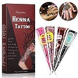 Henna Tattoo Farbe Temporäre Tattoo Natürliche, Henna Creme Körperbemalung Tattoo Creme, Schaffen Sie sich jederzeit Stil, | Temporäre Tattoos | Henna Design 4x Magenta, Braun, Schwarz, Lila