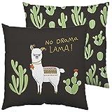Happy Life 45551 Baumwoll-Kissen mit Tier-Motiv, Kaktus und Spruch No Drama Lama, schwarz, bunt, 40 cm x 40 cm Zierkissen, Polyester, Grün, 40 x 40 cm