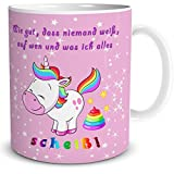 """TRIOSK Einhorn Tasse mit lustigem Spruch """"Wie gut, DASS niemand weiß, … !"""" Geschenk für Frauen, Geschenkidee für Mädchen, Weiß Pink Bunt, 300 ml Keramiktasse, Kaffeetasse für Freundin, Teetasse"""