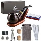 Joyoldelf Holz Tabak Pfeifen Set - gebogen Ebenholz Pfeife gebogen mit Rohrständer Halter und Rauchen Zubehör & mit Geschenkbox
