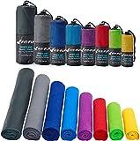Fit-Flip Sporthandtuch, Reisehandtuch, Microfaser-Badetuch, XXL Strandhandtuch, Sauna Microfaser Handtuch groß (2 STK. 30x50cm dunkelblau)
