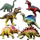 GuassLee OuMuaMua Realistische Dinosaurier Figur Spielzeug - 6 Pack 7 'Große Größe Kunststoff Dinosaurier Set Kinder Kleinkind Bildung, einschließlich T-Rex, Stegosaurus,Monoclonius, Etc.