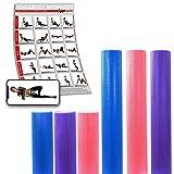 POWRX Yoga-Rolle/Pilates-Rolle/Schaumstoff-Rolle/Foam-Roller/Faszien-Training/Selbstmassagerolle 45 cm oder 90 cm x 15 cm Blau Lila Pink (Lila/45 x 15 cm)